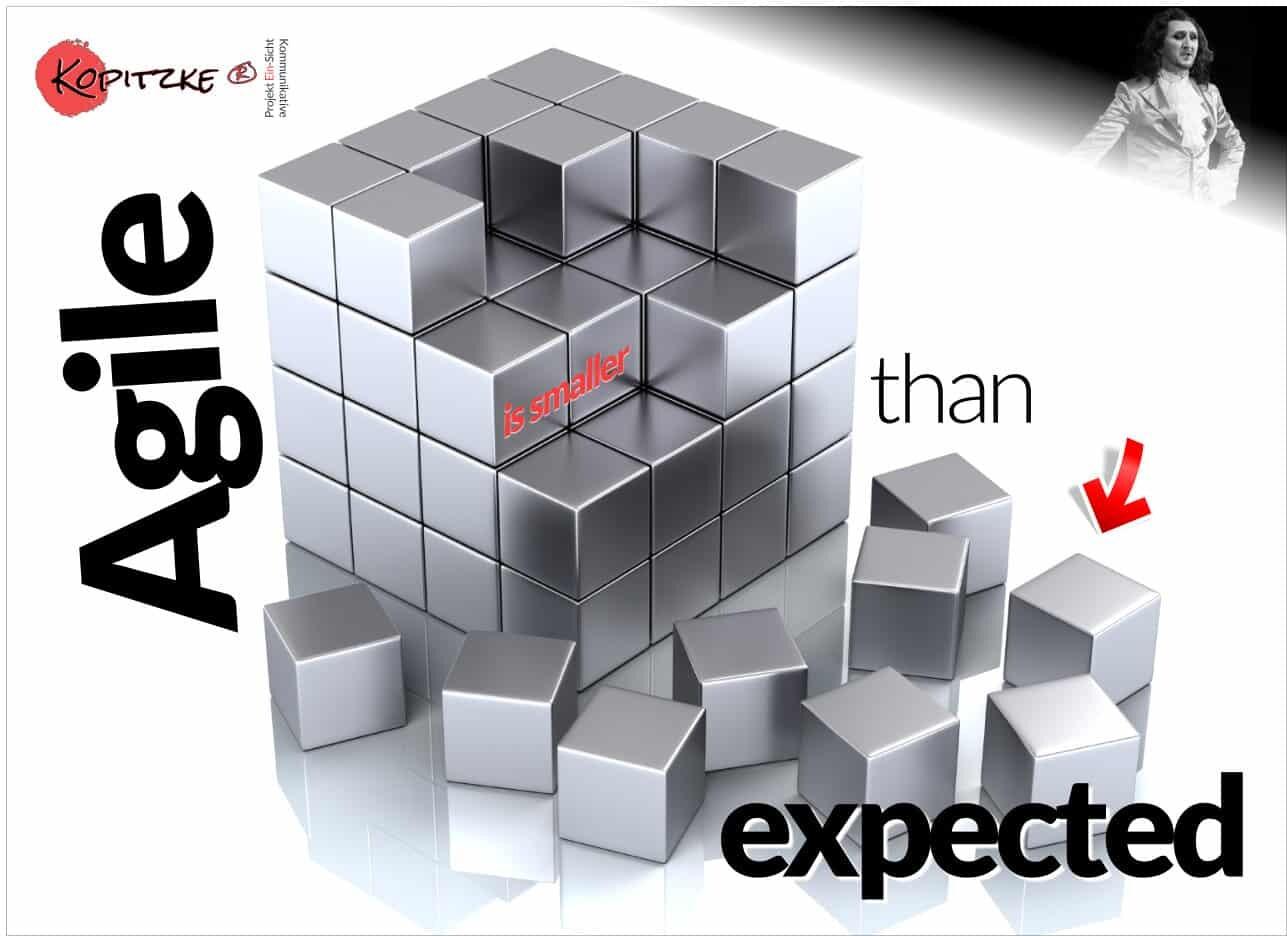 hype-agile-transformation Hype Agile Transformation? Alles nur aufgeblasen? Agile is smaller than expected. 4 Schritte - so geht's einige, eigene Überlegungen